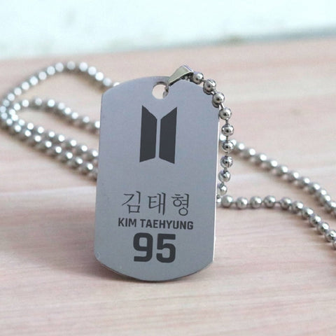 V BTS Army Style Stainless Steel Pendant Necklace