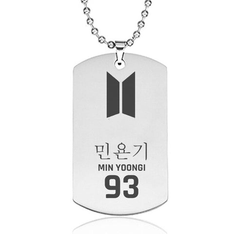 SUGA BTS Army Style Stainless Steel Pendant Necklace