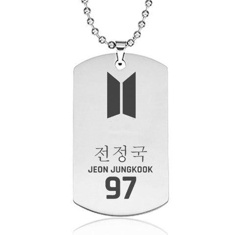 Jungkook BTS Army Style Stainless Steel Pendant Necklace