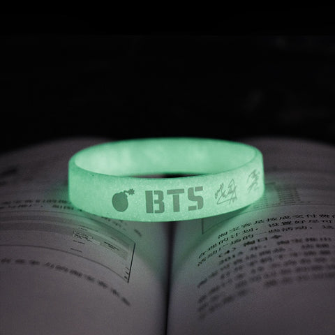 BTS Glow In The Dark Green Wristband