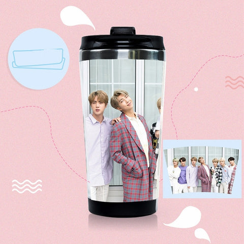 BTS Photo Card Stainless Steel Water Bottle