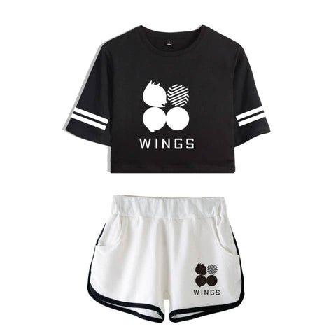 Classic BTS Logo Wings Album Crop Top & Short Set