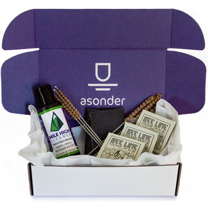 asonder care kit. all natural smoking pipe resin cleaning supplies. mile high cleaner. bee line hemp wick. coconut bristle cleaning brushes. hemp fabric. smoking pipe cleaning kit. sustainable smoking pipe cleaning materials.