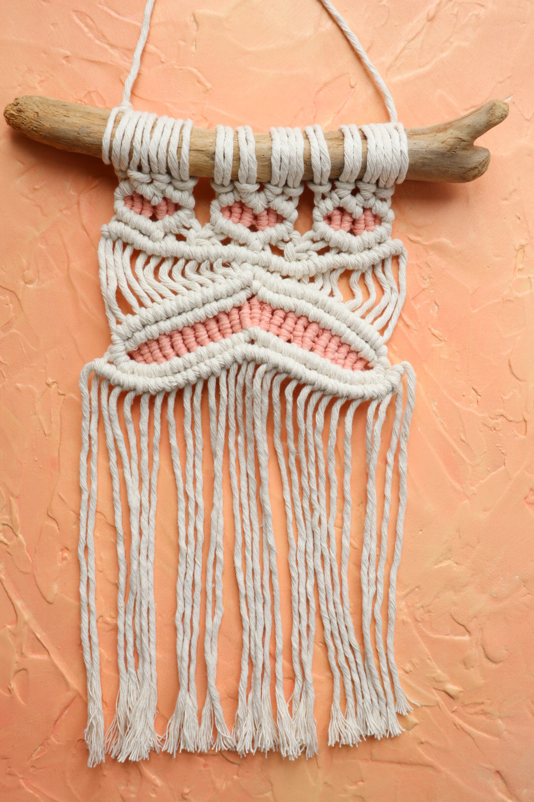 Small Macrame Wall Hanging - Woven Coral Pink
