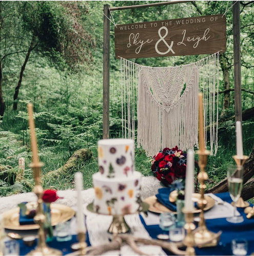 'Welcome To Your Wedding' Sign Featuring Macrame Garland