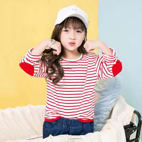 Kids Girls T-shirt Long Sleeve Striped