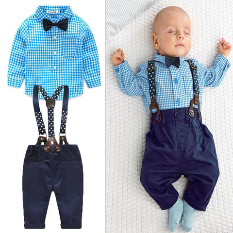 2Pcs /Set Newborn Baby Boys Gentleman Suits