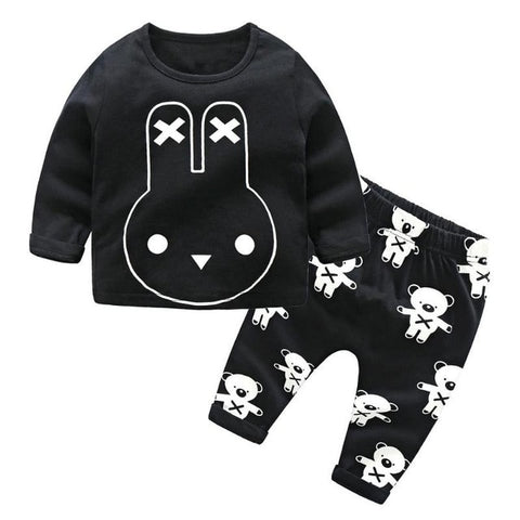 2pcs Baby Boys Cartoon Animal Printed Long Sleeve