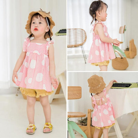 Summer Cute Dot  Sleeve Kids Girl Shirt