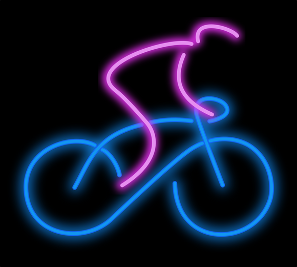 neon bicycle sculpture