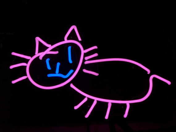neon cat gato sculpture