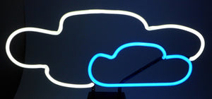 clouds neon art sculpture