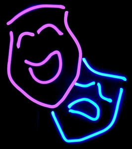 comedy tragedy neon sculpture