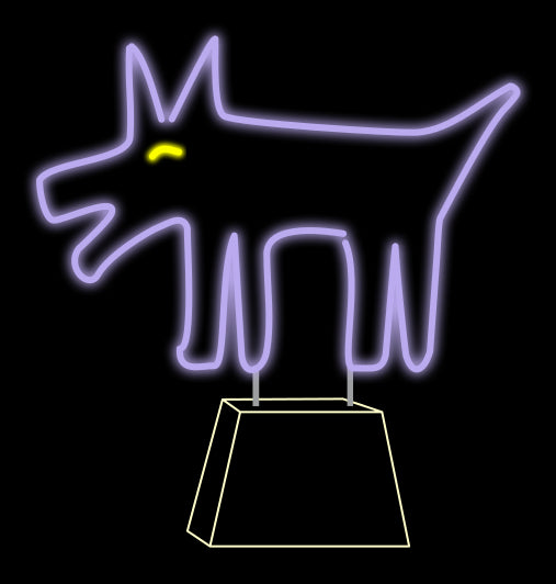 neon dog sculpture
