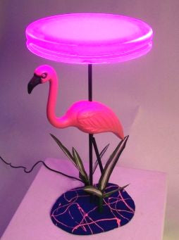 pink flamingo LED end table