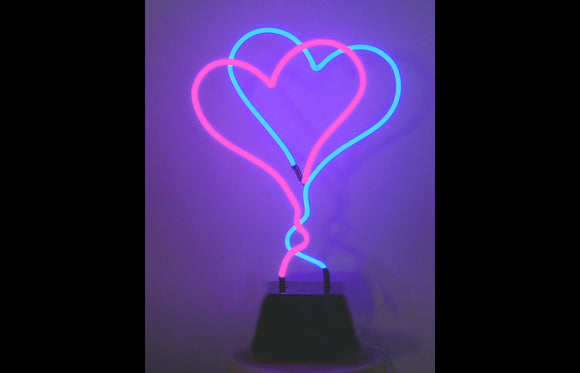 Double Heart Neon Freestanding Handmade Tabletop Valentine Art Sculpture Modern Design FREE SHIPPING!
