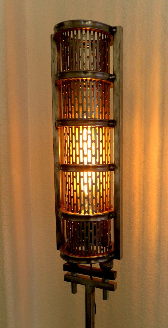 industrial steampunk metal floor lamp