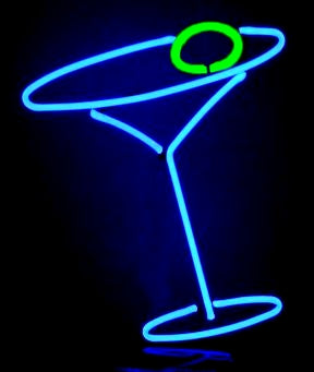neon martini sculpture