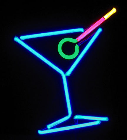 Martini Classic Freestanding Modern Neon Design Tabletop Art Sculpture FREE SHIPPING