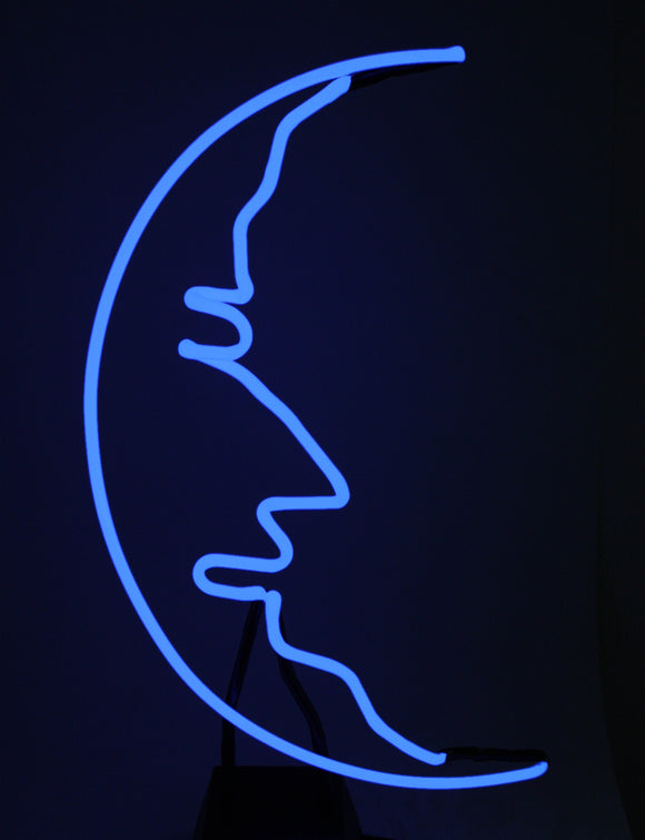 Man in the Moon Real Neon Art Tabletop Freestanding Light Lamp Sculpture FREE SHIPPING!