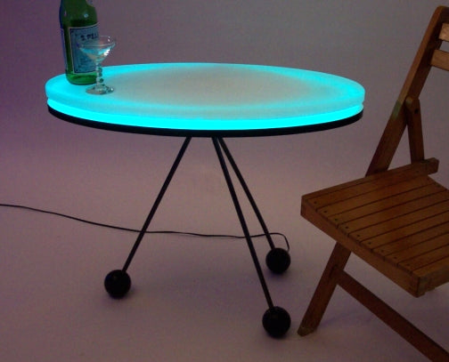 Sheer Oval... Handmade LED Art MidCentury Modern Design Coffee Table FREE SHIPPING!