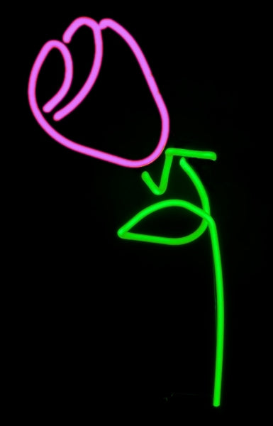 neon rose sculpture