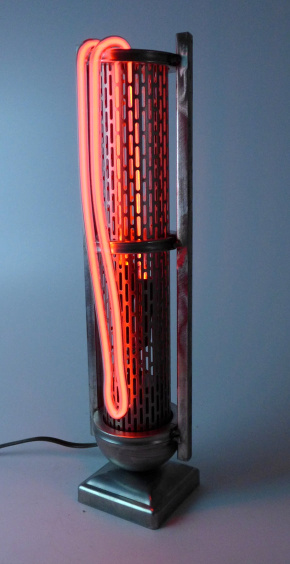 steel and neon steampunk industrial table lamp