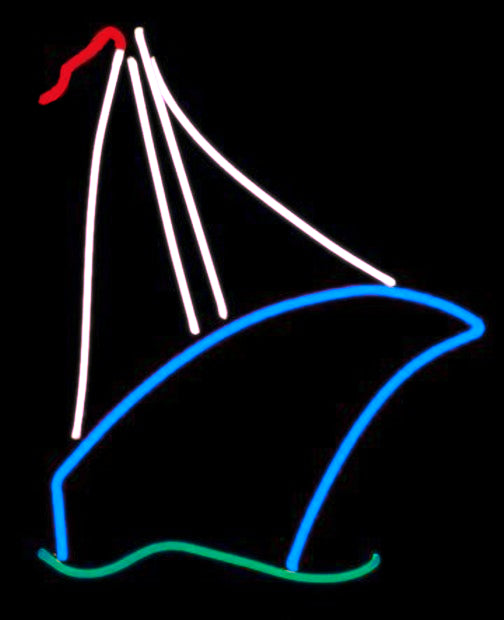 sailboat neon art sculpture