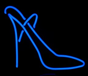 neon stiletto shoe art sculpture