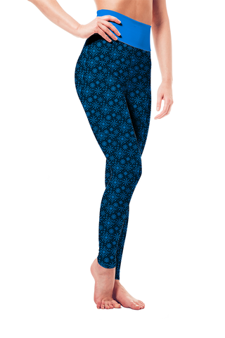 Leggings - Blue Snowflake Pattern