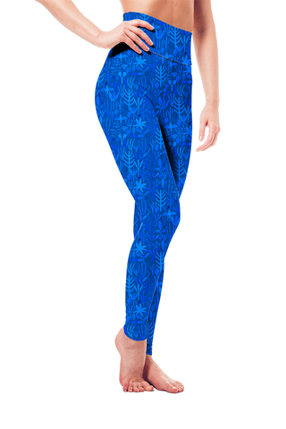 Leggings - Blue Foliage Pattern