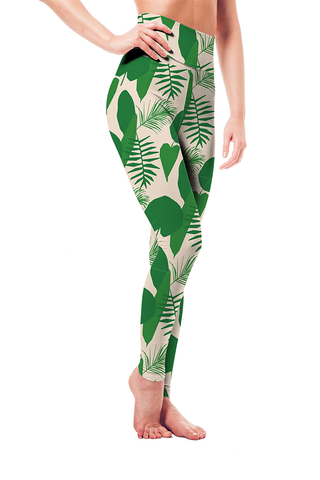 Leggings - Green-White Tropical