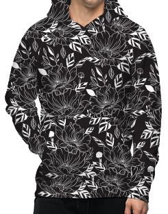 Hoody - Black and White Flowers