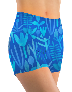 Booty Shorts - Blue Foliage