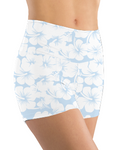 Booty Shorts - Blue White Hibiscus