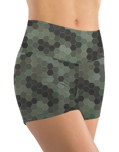 Booty Shorts - Green Hex Camo