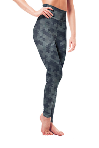Leggings - Blue Gray Hexagon