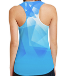 Female Racerback Tank - Icicle Blue Geometric