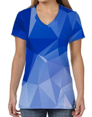 Female V Neck Athleisure Tee - Icicles Blue