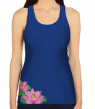 Female Racerback Tank - Lotus on Blue