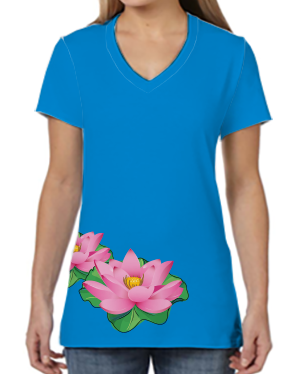 Female V Neck Athleisure Tee - Lotus On Blue