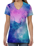 Female V Neck Athleisure Tee - Blue Pink Nebula