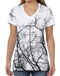 Female V Neck Athleisure Tee - Branches Black on White