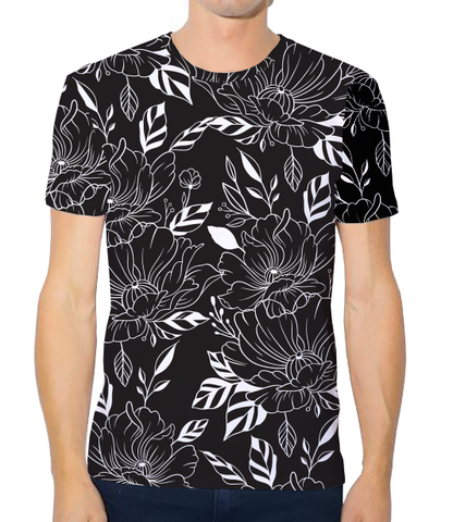 Unisex Athleisure Tee - Black and White Flowers