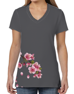 Female V Neck Athleisure Tee - Cherry Blossoms Gray