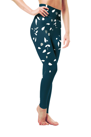 Dark Blue Cherry Blossoms Leggings