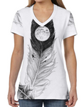 Female V Neck Athleisure Tee - KZ Moon Feather