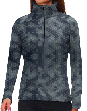 "9"" Mock Zip Pull-Over - Female - Hex Camo Gray/Blue"
