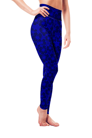 Leggings - Blue Hibiscus
