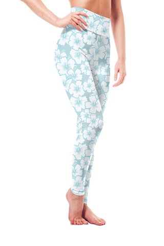 Leggings - Blue on White Hibiscus Flowers